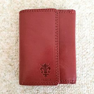 Firenze Vera Pelle Red Leather Trifold Wallet